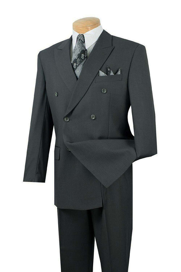 Atlantis Collection - Charcoal Regular Fit Double Breasted 2 Piece Suit - SUITS FOR MENS