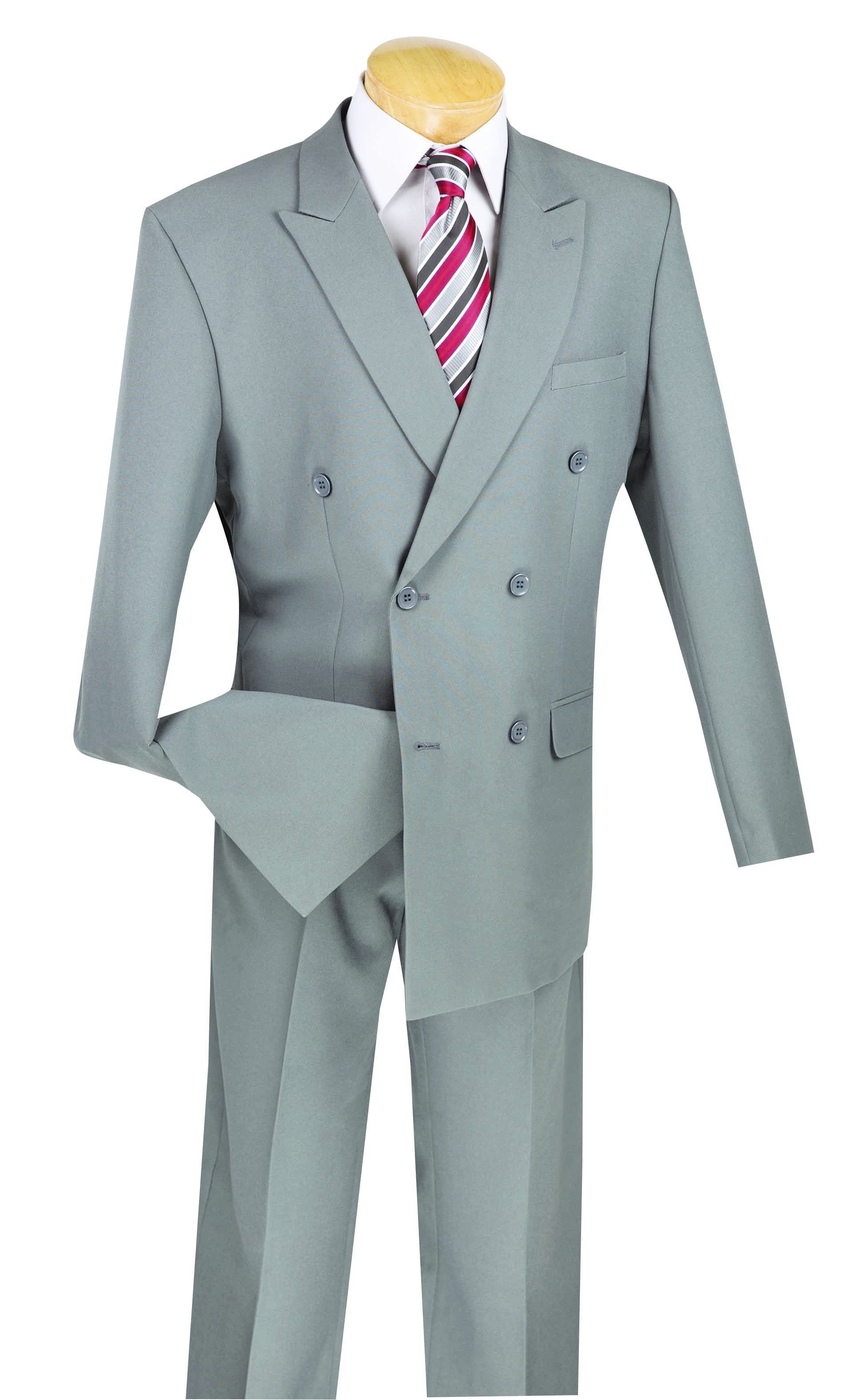 Atlantis Collection - Gray Regular Fit Double Breasted Suit 2 Piece ...