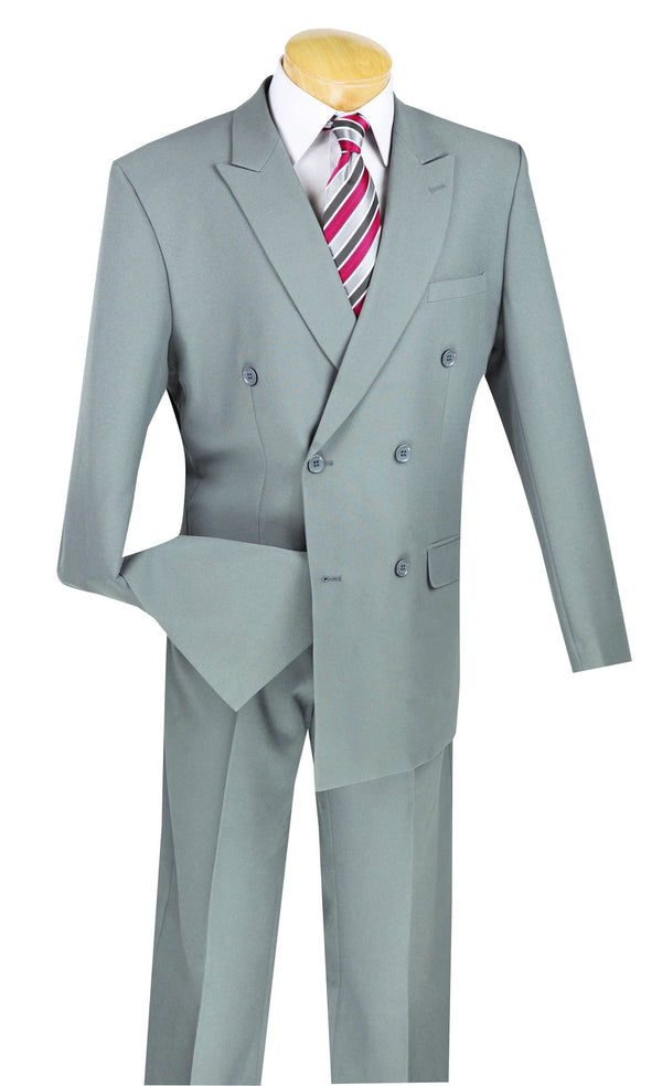 Atlantis Collection - Gray Regular Fit Double Breasted 2 Piece Suit - SUITS FOR MENS