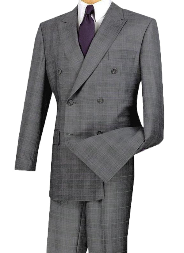 Alexander Collection - Gray Double Breasted 2 Piece Suit Regular Fit Glen Plaid - SUITS FOR MENS