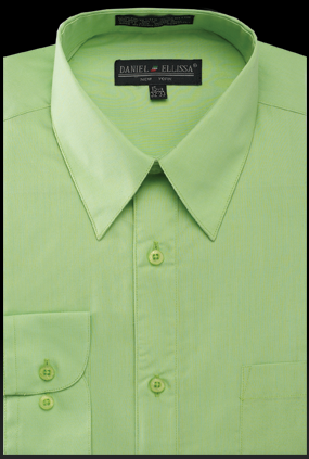 Basic Dress Shirt Regular Fit in Apple Green - SUITS OUTLETS