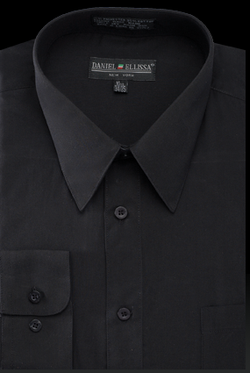 Basic Dress Shirt Regular Fit in Black - SUITS FOR MENS