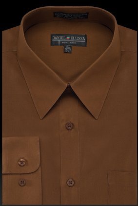 Basic Dress Shirt Regular Fit in Brown - SUITS FOR MENS