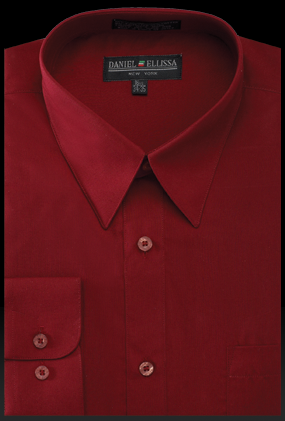 Basic Dress Shirt Regular Fit in Burgundy - SUITS FOR MENS