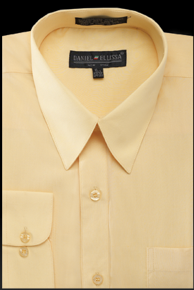 Basic Dress Shirt Regular Fit in Canary - Mens Suits