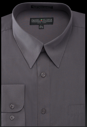 Basic Dress Shirt Regular Fit in Charcoal - SUITS OUTLETS