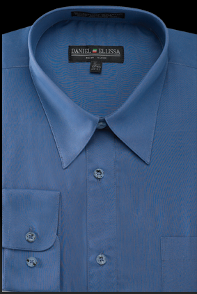 Basic Dress Shirt Regular Fit in Denim Blue - SUITS FOR MENS