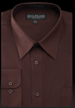 Basic Dress Shirt Regular Fit in Dark Brown - SUITS OUTLETS
