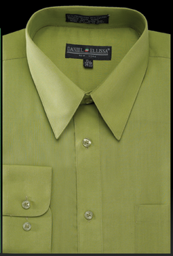 Basic Dress Shirt Regular Fit in Dark Lime - SUITS FOR MENS