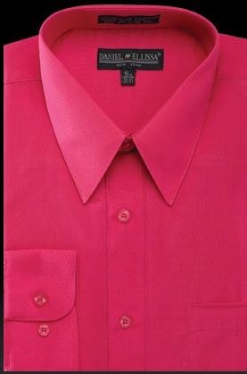 Basic Dress Shirt Regular Fit in Fuchsia - SUITS OUTLETS