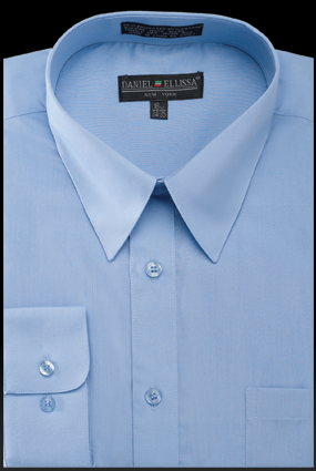Basic Dress Shirt Regular Fit in Light Blue - SUITS FOR MENS