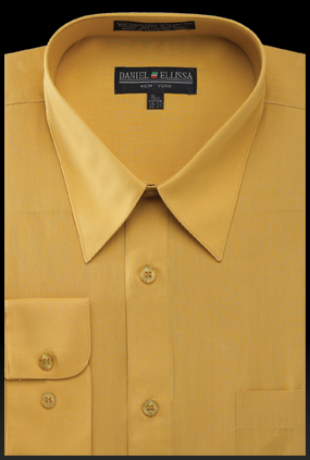 Basic Dress Shirt Regular Fit in Mustard - SUITS FOR MENS