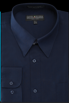 Basic Dress Shirt Regular Fit in Navy - Mens Suits