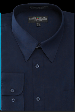 Basic Dress Shirt Regular Fit in Navy - SUITS FOR MENS