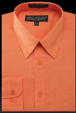 Basic Dress Shirt Regular Fit in Orange - SUITS FOR MENS
