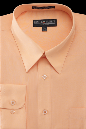 Basic Dress Shirt Regular Fit in Peach - SUITS OUTLETS