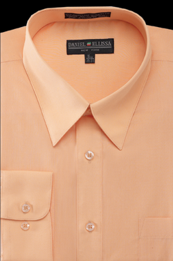 Basic Dress Shirt Regular Fit in Peach - SUITS FOR MENS