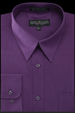 Basic Dress Shirt Regular Fit in Purple - SUITS FOR MENS