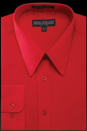 Basic Dress Shirt Regular Fit in Red - SUITS OUTLETS