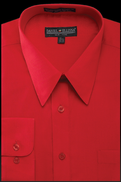 Basic Dress Shirt Regular Fit in Red - SUITS FOR MENS