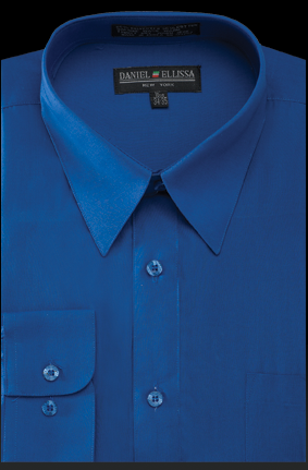 Basic Dress Shirt Regular Fit in Royal Blue - SUITS OUTLETS
