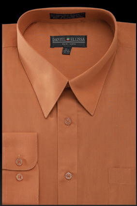 Basic Dress Shirt Regular Fit in Rust - Mens Suits
