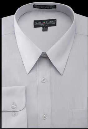 Basic Dress Shirt Regular Fit in Silver - SUITS FOR MENS