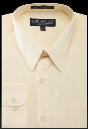 Basic Dress Shirt Regular Fit in Soft Butter - SUITS OUTLETS