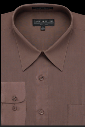 Basic Dress Shirt Regular Fit in Taupe - SUITS OUTLETS