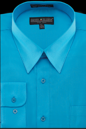 Basic Dress Shirt Regular Fit in Turquoise - SUITS FOR MENS