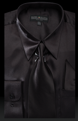 Satin Dress Shirt Regular Fit in Black With Tie and Pocket Square - SUITS FOR MENS