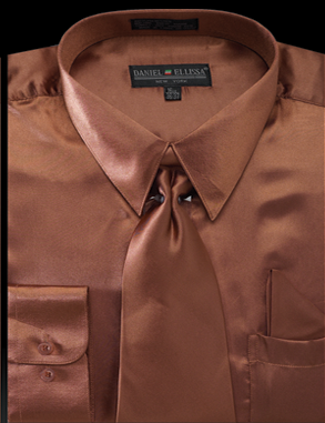 Satin Dress Shirt Regular Fit in Copper with Tie and Hankie - Mens Suits