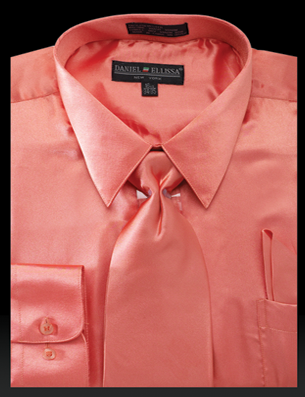 Satin Dress Shirt Regular Fit in Coral With Tie And Pocket Square - SUITS FOR MENS