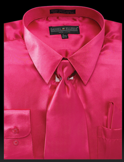 Satin Dress Shirt Regular Fit in Fuchsia With Tie And Pocket Square - SUITS FOR MENS