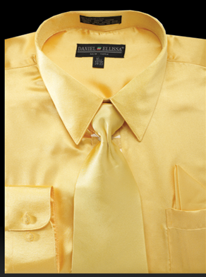 Satin Dress Shirt Regular Fit in Gold With Tie And Pocket Square - SUITS FOR MENS