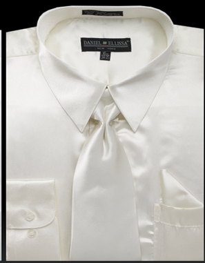 Satin Dress Shirt Regular Fit in Ivory With Tie And Pocket Square - SUITS FOR MENS