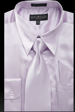 Satin Dress Shirt Regular Fit in Lilac With Tie And Pocket Square - SUITS FOR MENS