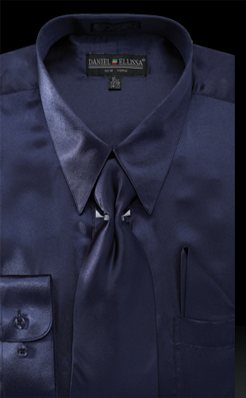 Satin Dress Shirt Regular Fit in Navy with Tie and Hankie - Mens Suits