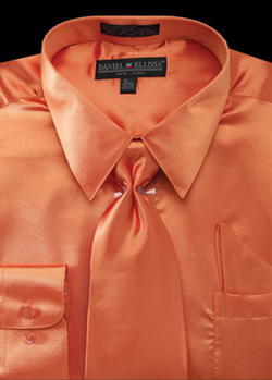 Satin Dress Shirt Regular Fit in Orange with Tie and Hankie - Mens Suits