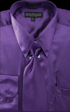 Satin Dress Shirt Regular Fit in Purple With Tie And Pocket Square - SUITS FOR MENS