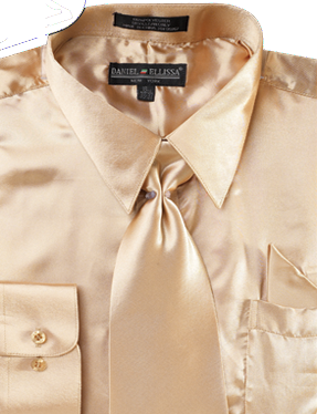 Satin Dress Shirt Regular Fit in Taupe with Tie and Hankie - Mens Suits
