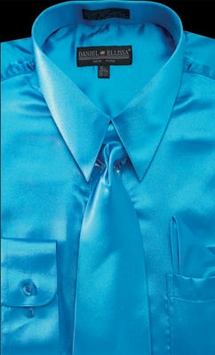 Satin Dress Shirt Regular Fit in Turquoise With Tie And Pocket Square - SUITS FOR MENS