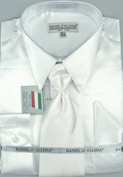 Satin Dress Shirt Regular Fit in White with Tie and Hankie - Mens Suits