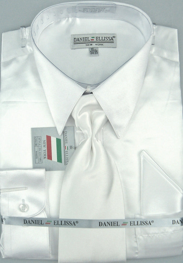 Satin Dress Shirt Regular Fit in White With Tie And Pocket Square - SUITS FOR MENS