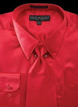 Satin Dress Shirt Regular Fit in Red With Tie And Pocket Square - SUITS FOR MENS