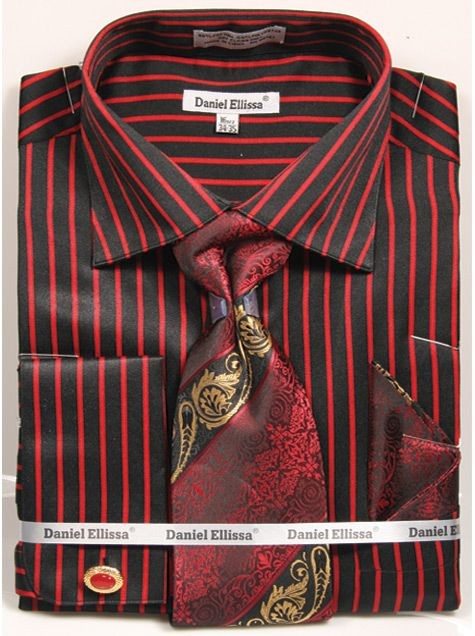 Regular Fit French Cuff Shirt Set Bold Stripe Black with Red - SUITS FOR MENS