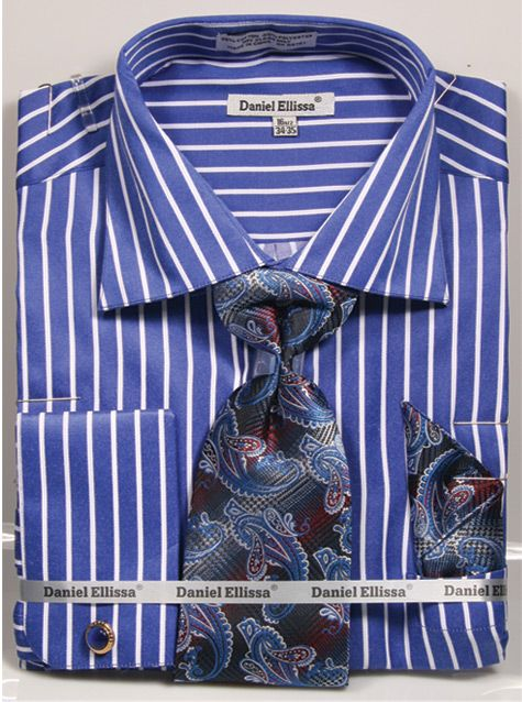 Regular Fit French Cuff Shirt Set Bold Stripe Royal Blue - SUITS FOR MENS