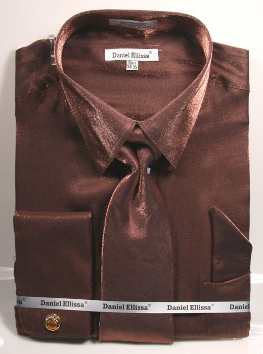 Brown Metallic Velvet Dress Shirt Set French Cuff - SUITS FOR MENS
