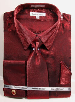 Burgundy Metallic Velvet Dress Shirt Set French Cuff - SUITS FOR MENS