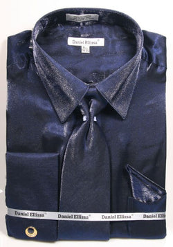 Navy Metallic Velvet Dress Shirt Set French Cuff - SUITS FOR MENS
